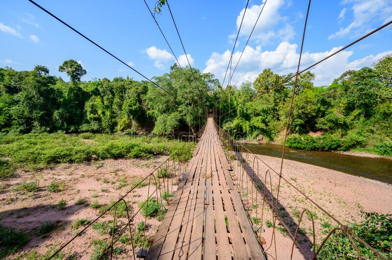 Suspension bridge spanning across Nan river with blue sky royalty free stock image