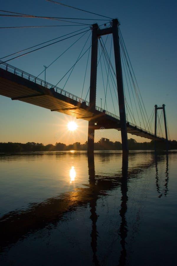 Download Suspension Bridge In Sunrise Stock Image - Image of water, light: 216399