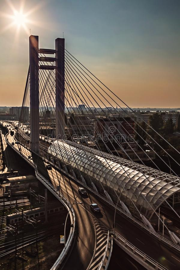 Suspension bridge at sunset urban modern landmark aerial view royalty free stock photo