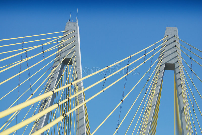 Suspension Bridge Support Cables. Fred Hartman suspension bridge in La Porte, Texas stock photos