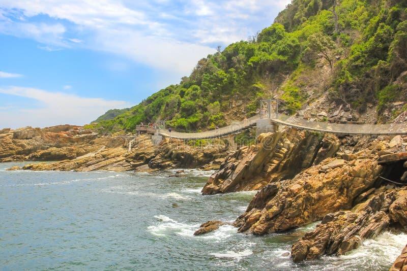 Suspension Bridge Tsitsikamma. Suspended Bridges during trekking route over Storms River Mouth in Tsitsikamma National Park, Eastern Cape, near Plettenberg Bay royalty free stock photo