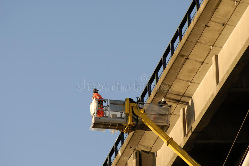 Suspension bridge under repairs stock photo