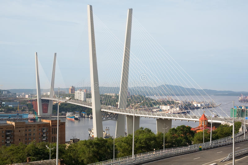 Suspension bridge in Vladivostok, Russia royalty free stock photography