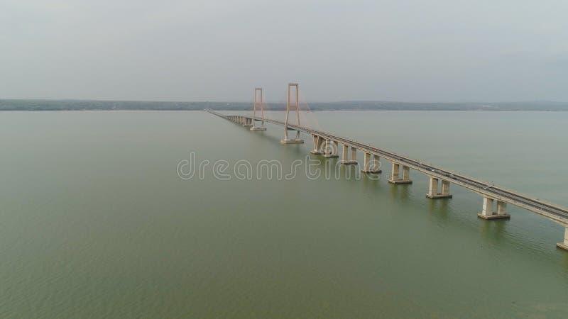 Suspension cable bridge in surabaya stock image