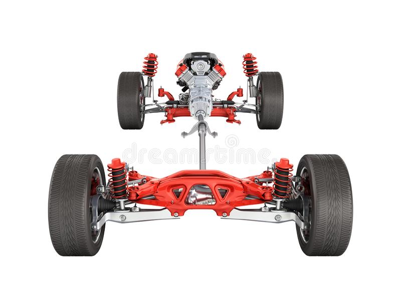 Suspension of the car with wheel and engine Undercarriage in detail isolated on white background 3d without shadow royalty free illustration