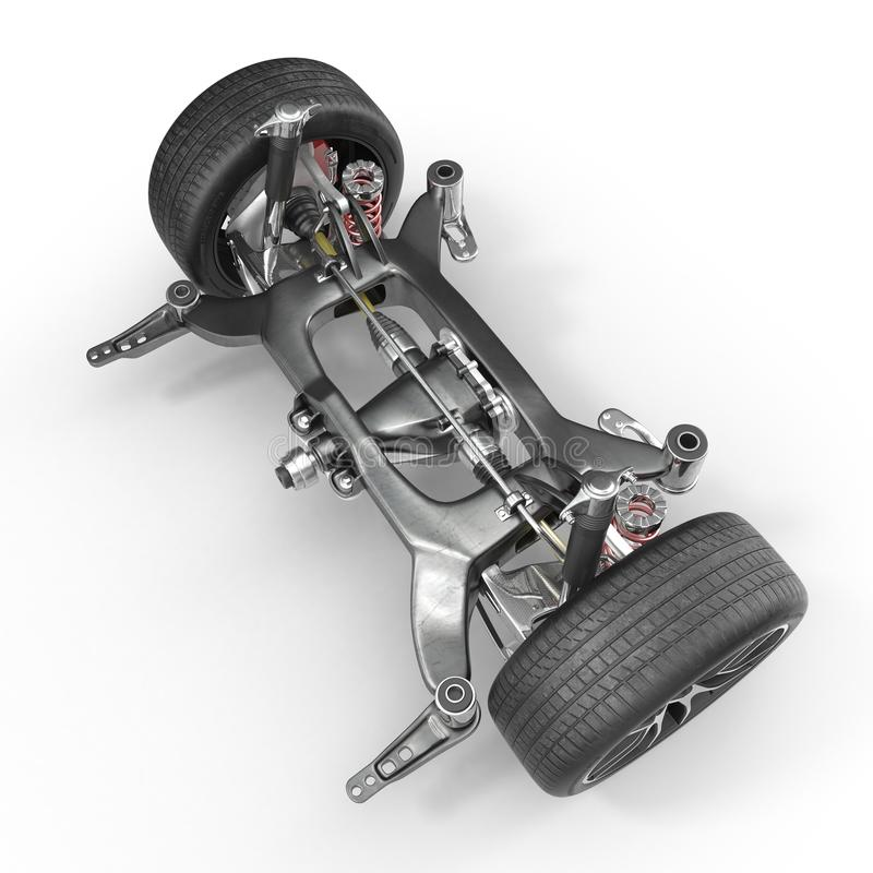 Suspension d'amortisseur et de voiture sur le blanc illustration 3D illustration stock