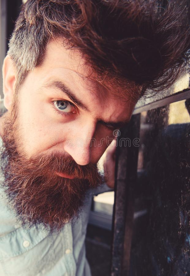 Suspicious look concept. Guy looks suspicious, close up. Hipster with tousled hair looking at camera. Man with beard and. Mustache on thoughtful, suspicious stock photos