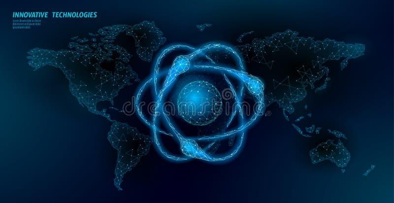 Suspiro de la partícula del átomo en mapa del mundo Peligro global de las armas militares nucleares Seguridad atónica del país de libre illustration
