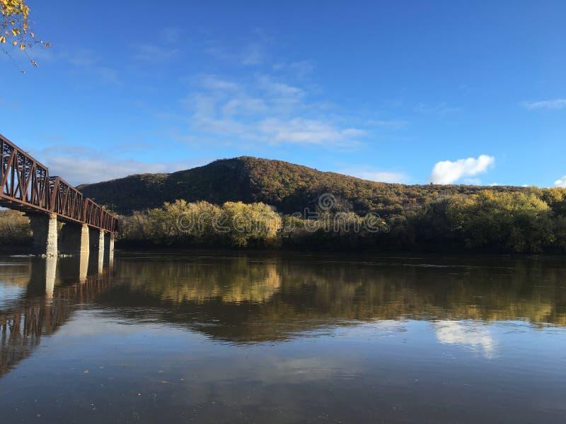 Susquehanna River Coxton järnvägbro arkivfoton