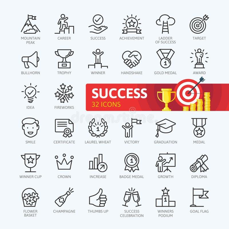 Sussess, награды, элементы достижения - минимальная тонкая линия комплект значка сети Собрание значков плана иллюстрация вектора
