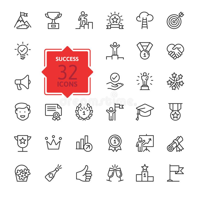 Sussess, awards, achievment elements - minimal thin line web icon set. Outline icons collection vector illustration