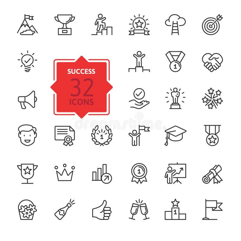 Sussess, nagrody, osiągnięcie elementy - minimalni cienieje kreskowego sieci ikony set Kontur ikony inkasowe ilustracja wektor