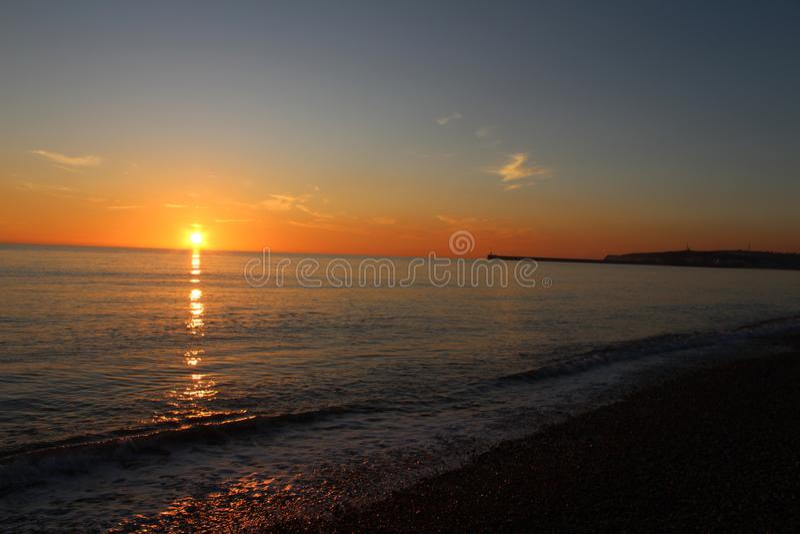 Sussex strandsolnedgång royaltyfria foton