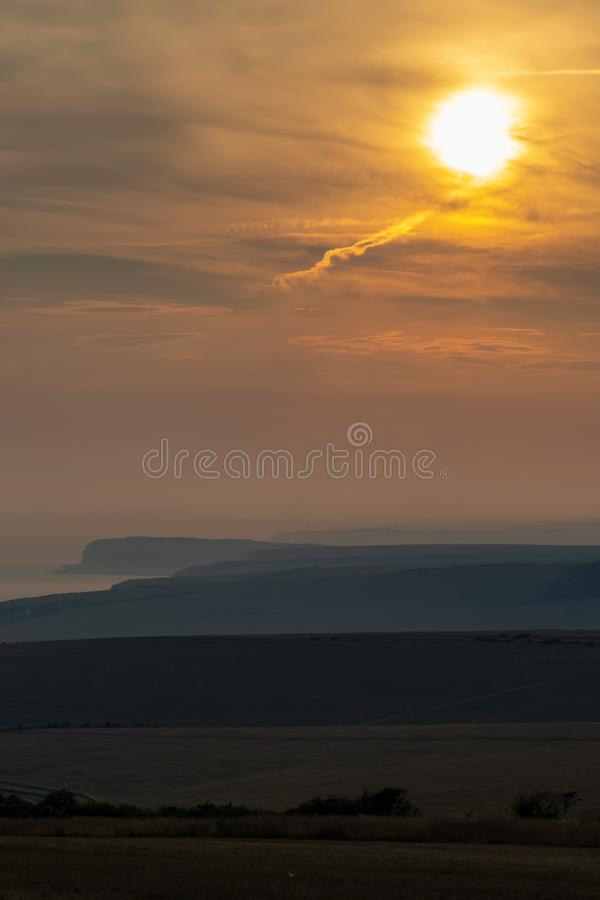 Sussex Sunset. Looking out over the countryside and coastline in Sussex, at sunset stock photos