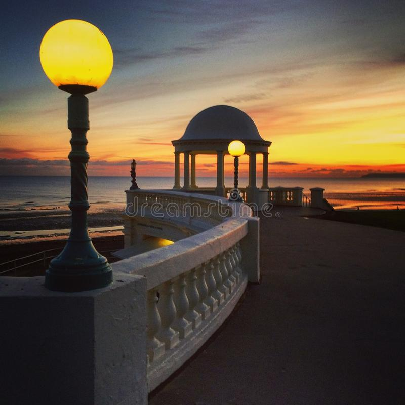 Sussex UK coast at dusk, at Bexhill on sea stock photography