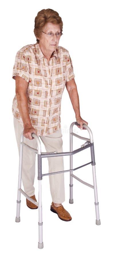 Sussidio anziano maggiore maturo del camminatore della donna isolato immagine stock