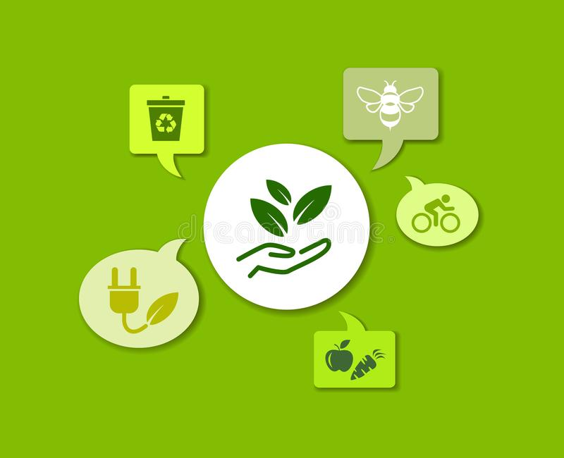 Sustainability icon concept: ecology, green energy, recycling, environmental protection – vector illustration. Abstract concept in green color with vector illustration