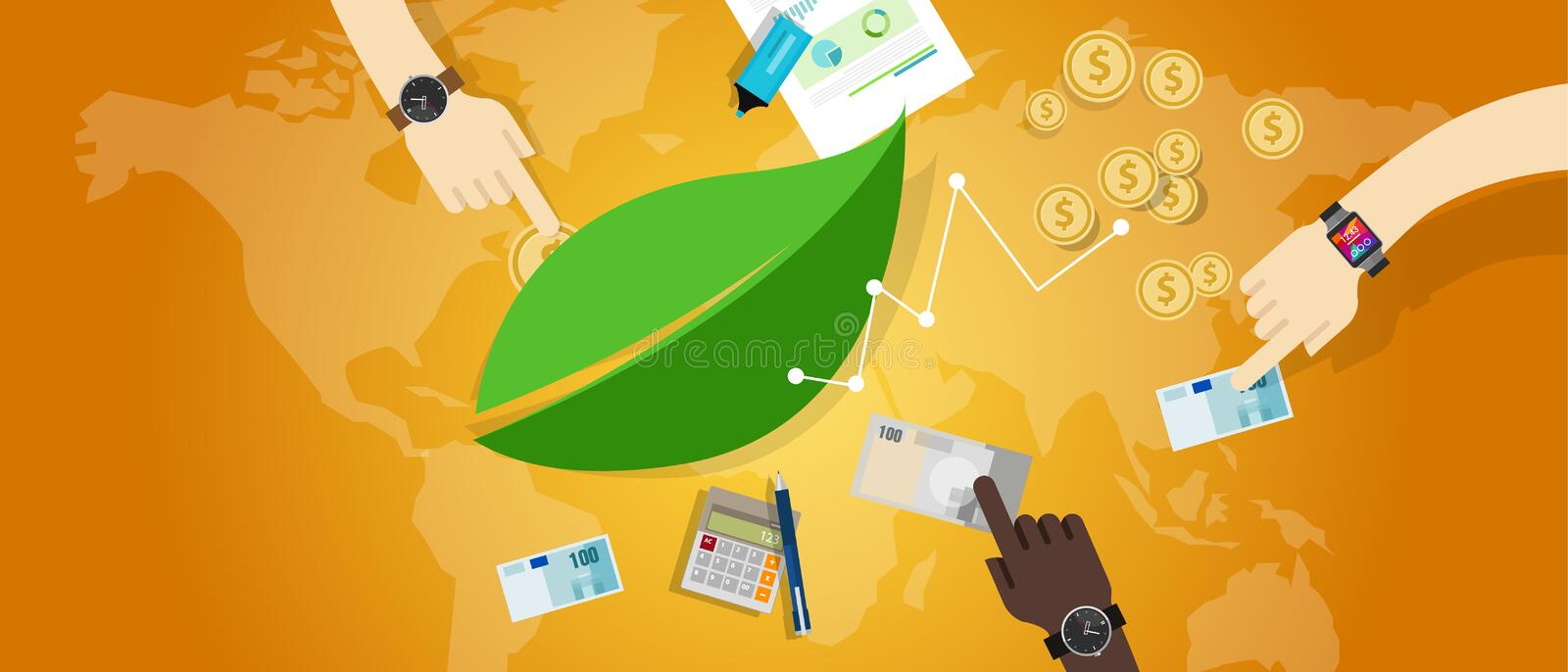 Sustainable business eco freindly corporate responsibility csr royalty free illustration