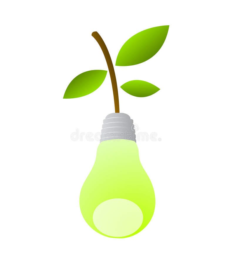 Sustainable clean energy symbol. Vector illustration for sustainable energy development by light bulb designed as a green pear. cool idea for a logo or icon for