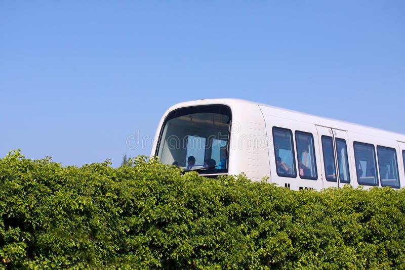 Sustainable driverless modern light rail metro train on railroad track in Europe royalty free stock photo