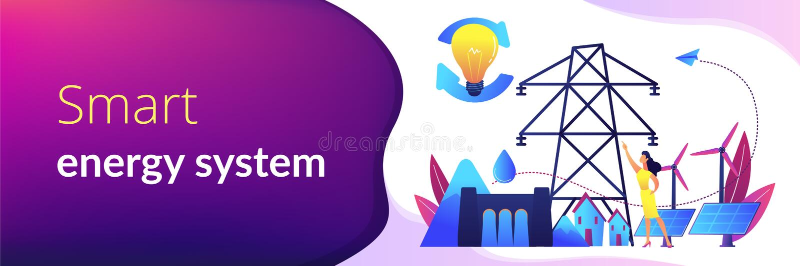 Sustainable energy concept banner header. vector illustration