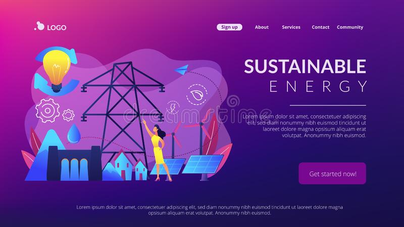 Sustainable energy concept landing page. vector illustration