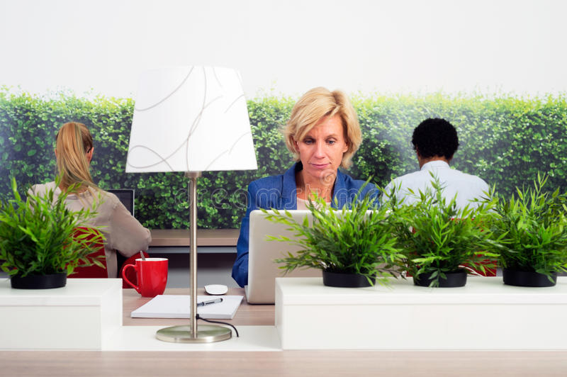 Sustainable Hot Desking. Business women working in a green hot desk flexible office space stock photo