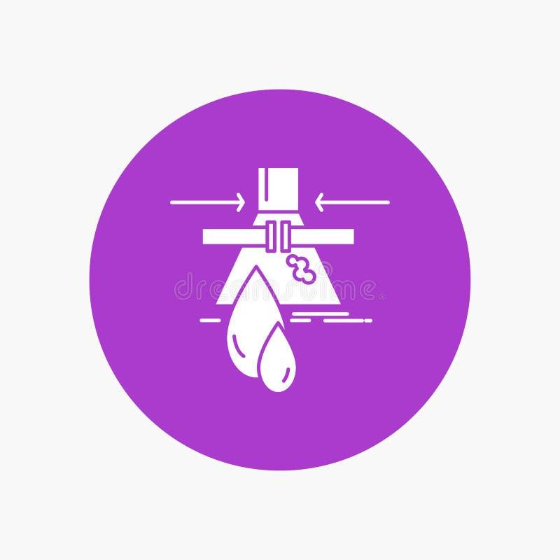 Sustancia química, escape, detección, fábrica, icono blanco del Glyph de la contaminación en círculo Ejemplo del bot?n del vector libre illustration