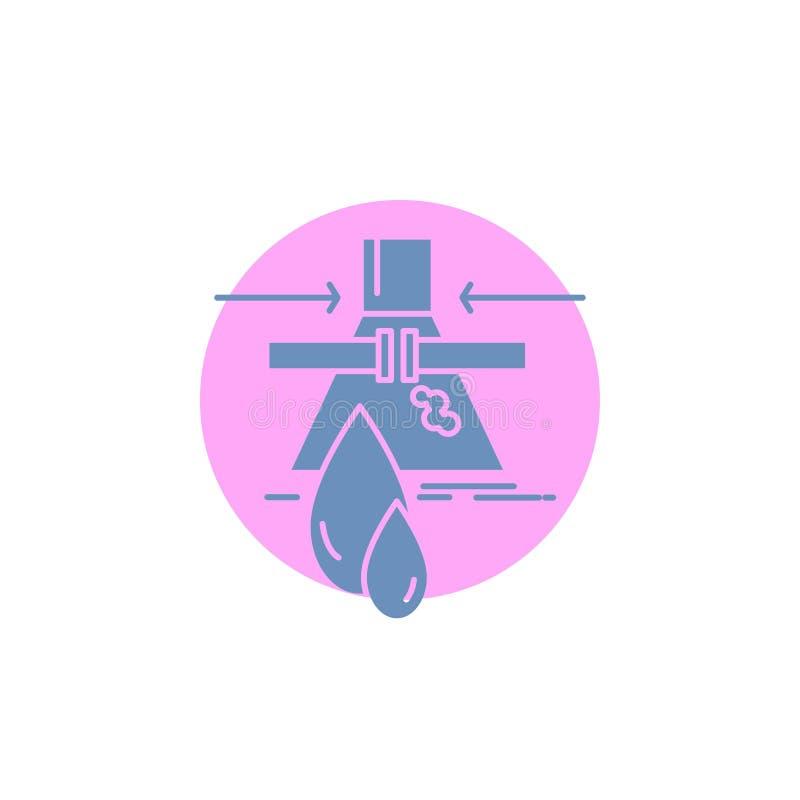 Sustancia química, escape, detección, fábrica, icono del Glyph de la contaminación ilustración del vector