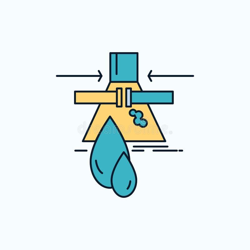 Sustancia química, escape, detección, fábrica, icono plano de la contaminación muestra y s?mbolos verdes y amarillos para la p?gi ilustración del vector