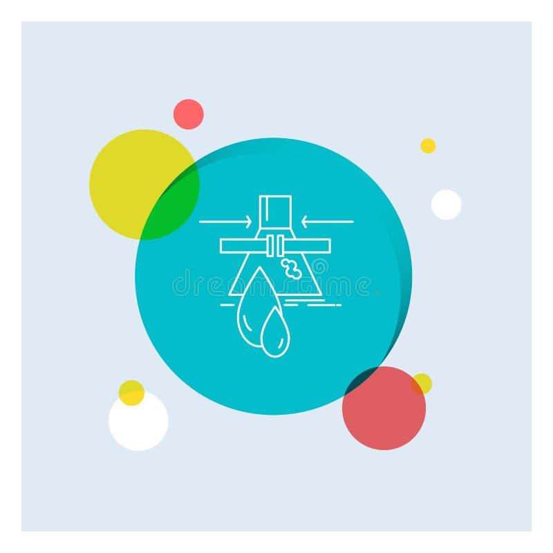 Sustancia química, escape, detección, fábrica, línea blanca fondo colorido de la contaminación del círculo del icono libre illustration