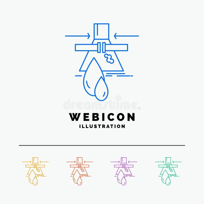 Sustancia química, escape, detección, fábrica, línea de color de la contaminación 5 plantilla del icono de la web aislada en blan stock de ilustración