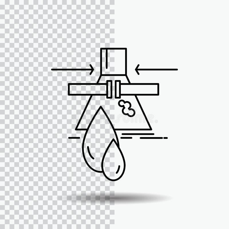Sustancia química, escape, detección, fábrica, línea icono de la contaminación en fondo transparente Ejemplo negro del vector del stock de ilustración