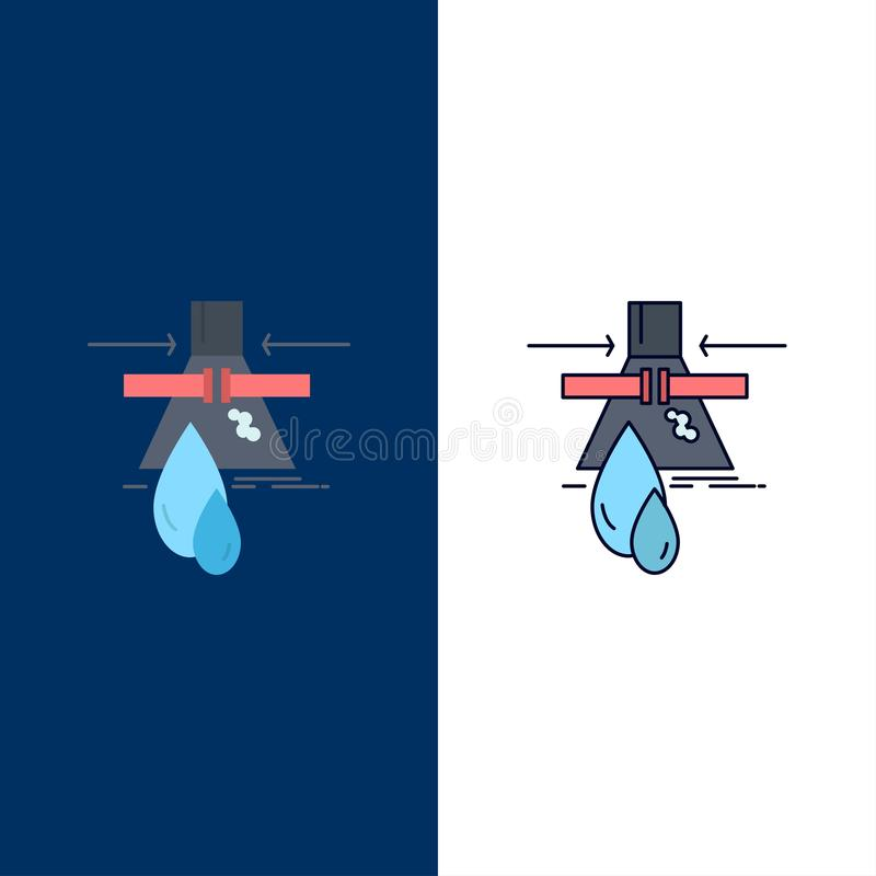 Sustancia química, escape, detección, fábrica, vector plano del icono del color de la contaminación stock de ilustración