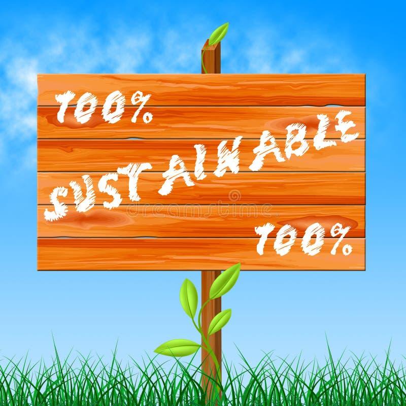 Sustentável ecológico e ecologia das mostras de cem por cento ilustração royalty free