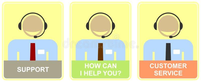 Sustentação, serviço de atenção a o cliente, centro de chamadas. ilustração royalty free