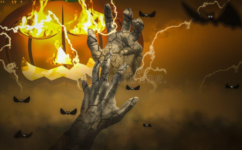 Susto obscuro, atmosfera assombrada da noite de Dia das Bruxas, com as mãos do zombi, projetando-se do túmulo no cemitério ilustração do vetor