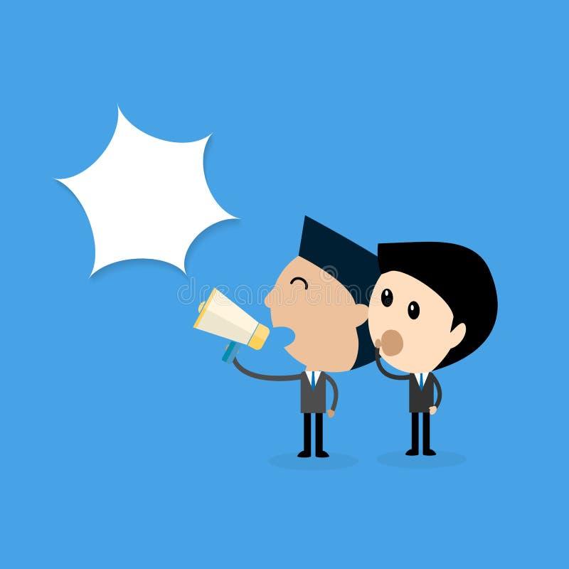 Susurro del hombre de negocios una comunicación del mensaje ningún concepto secreto ilustración del vector