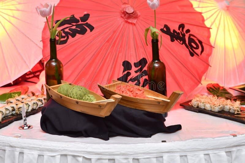 Suszi łodzie Wasabi & imbir zdjęcia stock