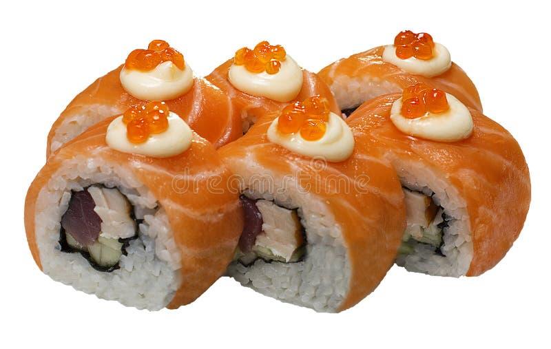 Suszi łosoś stacza się karmowego menu owoce morza obraz stock