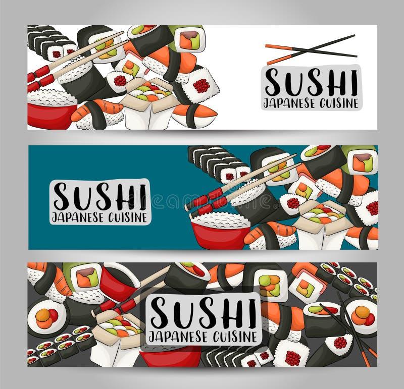 Suszi azjata i baru sztandaru restauracyjny horyzontalny set Japoński karmowy reklama projekta szablon ilustracja wektor