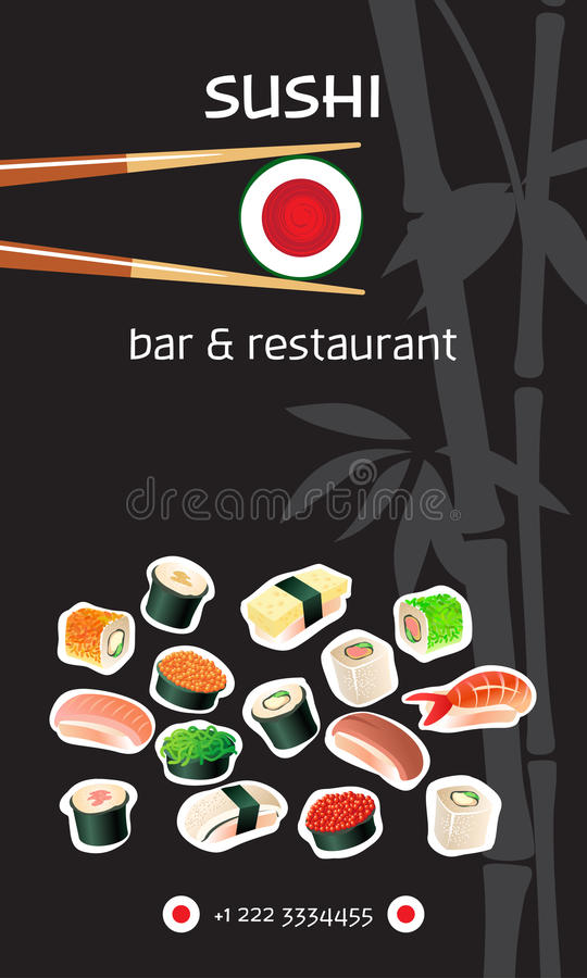 Suszi baru ulotki szablon Japońska kuchnia royalty ilustracja
