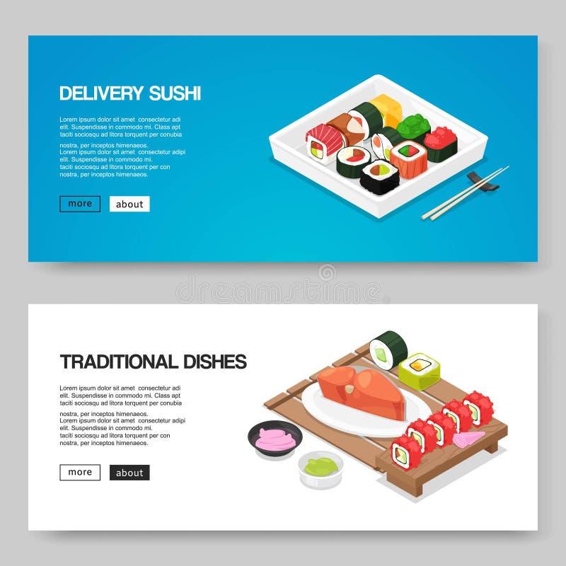 Suszi i azjaty karmowa doręczeniowa wektorowa ilustracja Japoński azjatykci jedzenie dla online rozkazu Rolki, futomaki suszi, tu royalty ilustracja