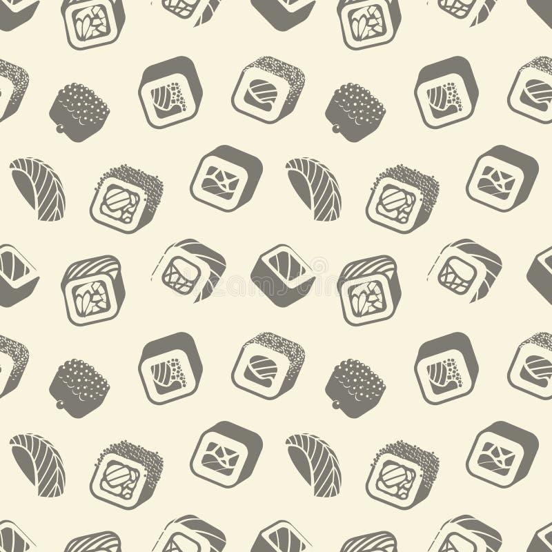 Suszi i rolek rocznika bezszwowy wzór na opakunkowym papierze, Japońska karmowa wektorowa monochromatyczna backround ilustracja ilustracji