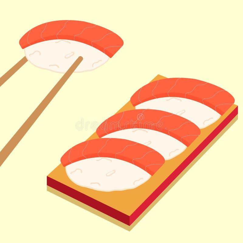Suszi ikony ustawia? azjatykci jedzenie Mieszkania stylowy jedzenie ilustracji