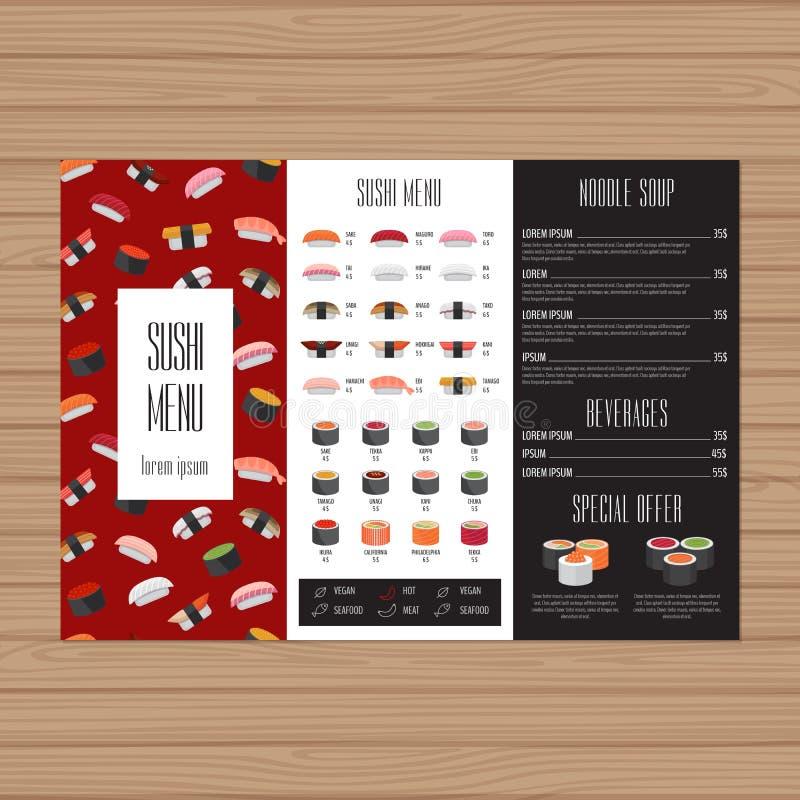 Suszi menu projekt Trifold ulotka układu szablon Japończyk fo ilustracja wektor