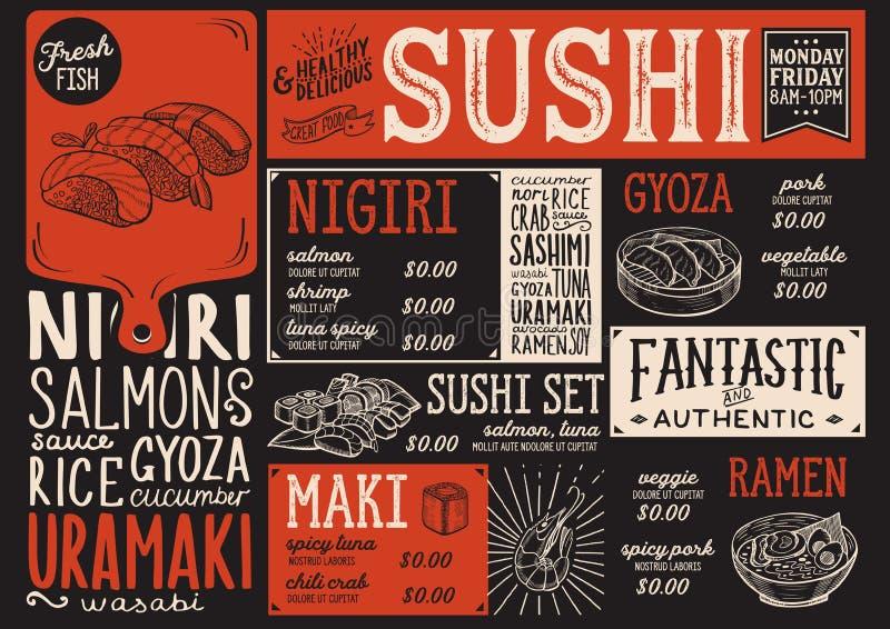 Suszi menu restauracja, karmowy szablon ilustracja wektor