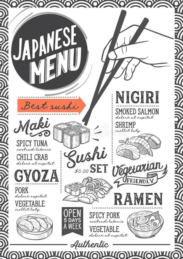 Suszi menu restauracja, karmowy szablon royalty ilustracja
