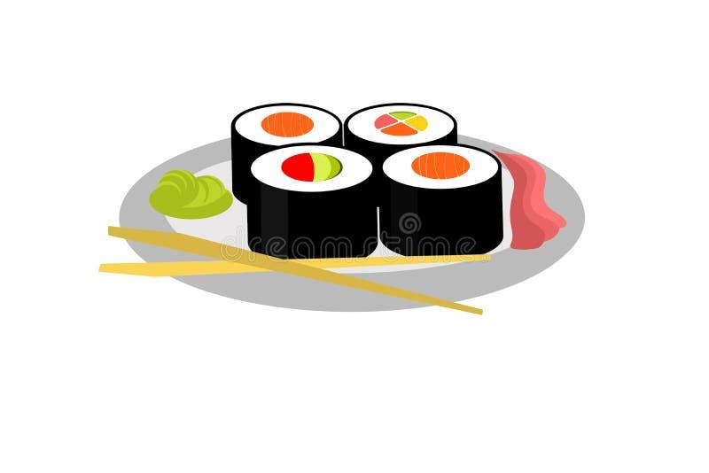 Suszi na talerzu na białym tle ilustracja wektor