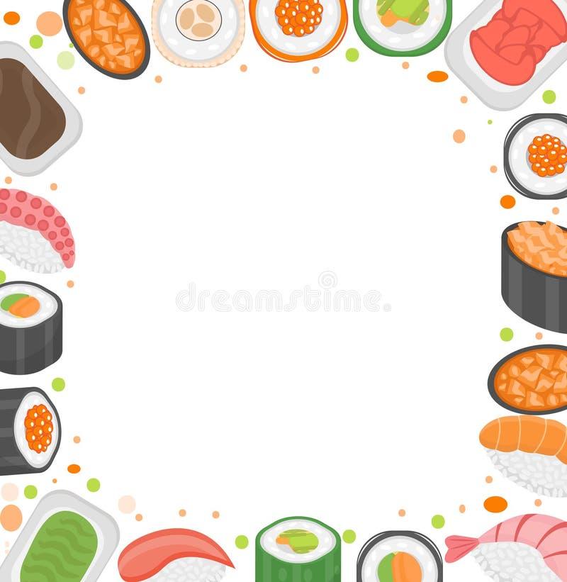 Suszi ramowy szablon z przestrzenią dla teksta Japońska kuchnia na białym tle Wektorowa ilustracja, klamerki sztuka ilustracja wektor